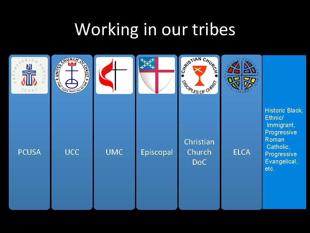 Working in our tribes PCUSA UCC UMC Episcopal Christian Church Do. C ELCA Historic