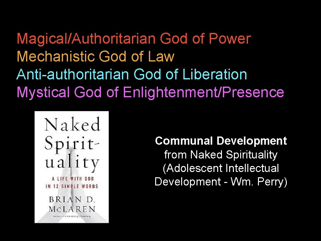 Magical/Authoritarian God of Power Mechanistic God of Law Anti-authoritarian God of Liberation Mystical God