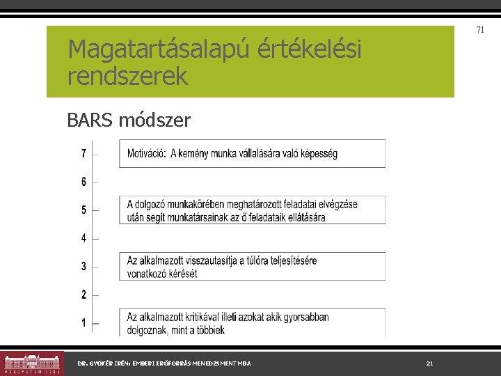 71 Magatartásalapú értékelési rendszerek BARS módszer DR. GYÖKÉR IRÉN: EMBERI ERŐFORRÁS MENEDZSMENT MBA 21