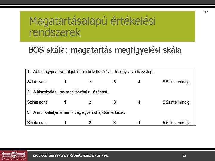 72 Magatartásalapú értékelési rendszerek BOS skála: magatartás megfigyelési skála DR. GYÖKÉR IRÉN: EMBERI ERŐFORRÁS