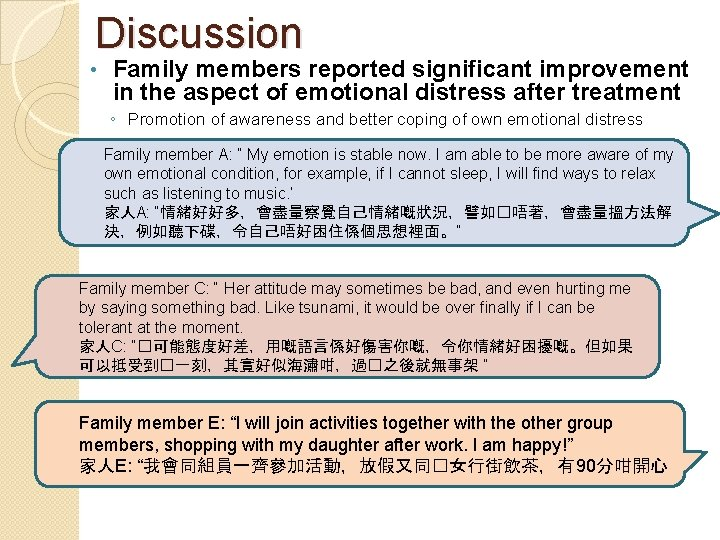 Discussion • Family members reported significant improvement in the aspect of emotional distress after