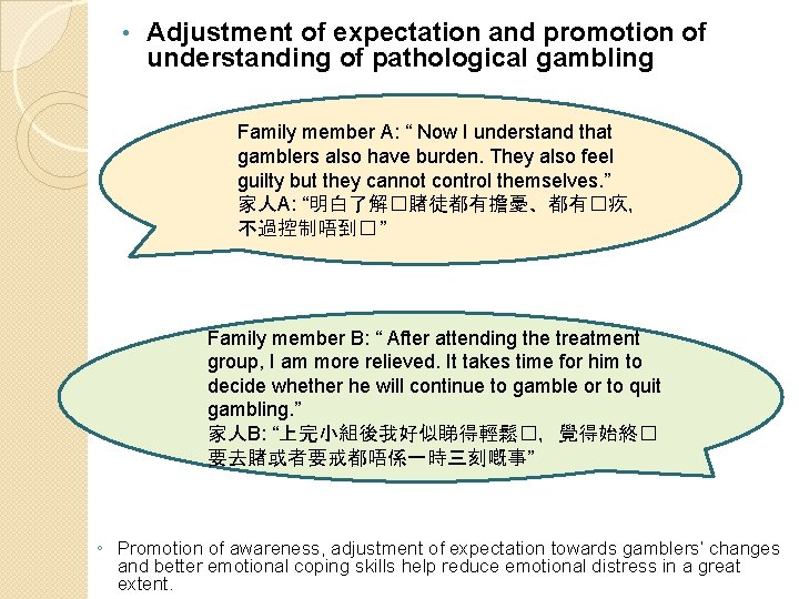 • Adjustment of expectation and promotion of understanding of pathological gambling Family member