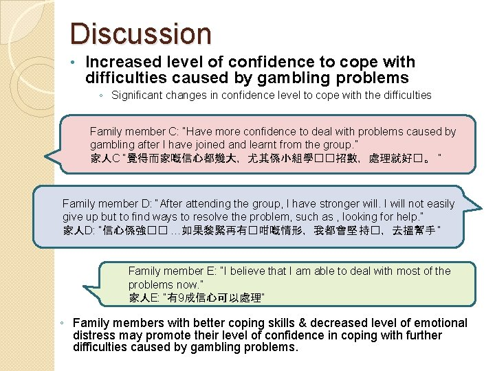 Discussion • Increased level of confidence to cope with difficulties caused by gambling problems