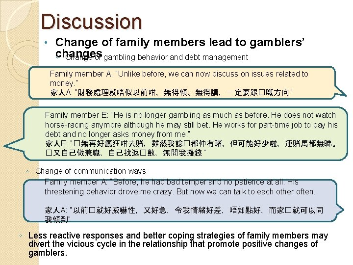 Discussion • Change of family members lead to gamblers' changes ◦ Change of gambling