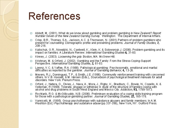 References � � � � � Abbott, M. (2001). What do we know about