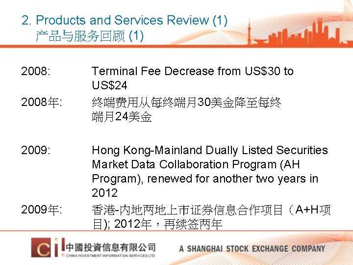 2. Products and Services Review (1) 产品与服务回顾 (1) 2008: Terminal Fee Decrease from US$30