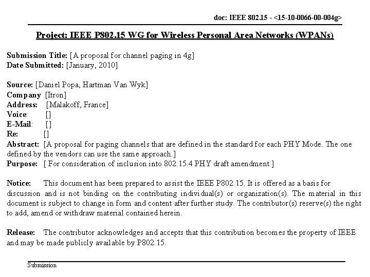 doc: IEEE 802. 15 -<doc 802. 15 - <15 -10 -0066 -00 -004 g>