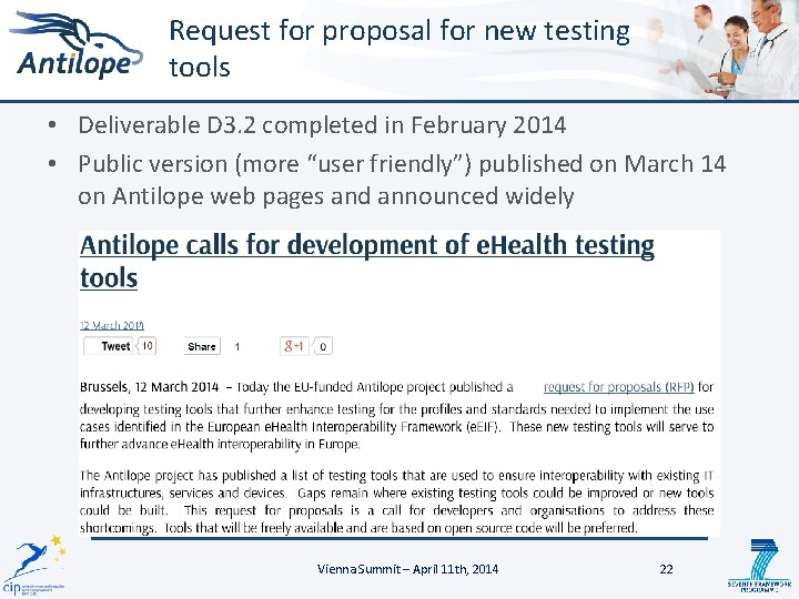 Request for proposal for new testing tools • Deliverable D 3. 2 completed in