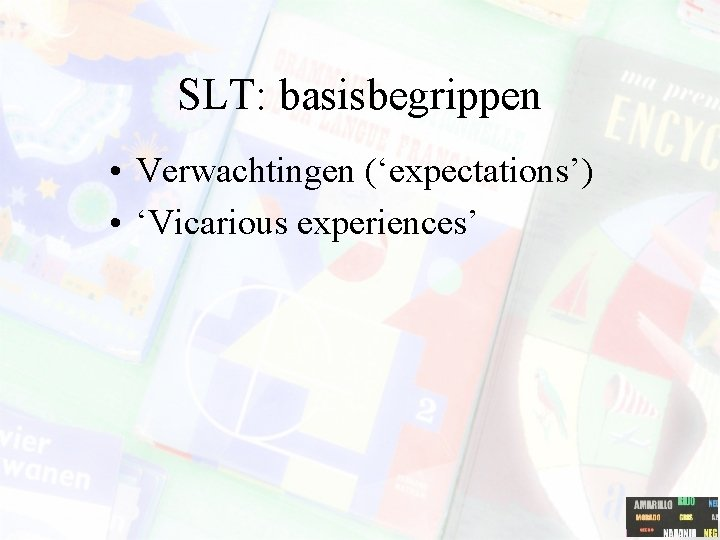 SLT: basisbegrippen • Verwachtingen ('expectations') • 'Vicarious experiences'