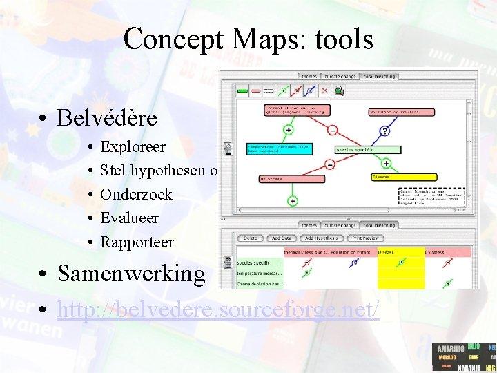 Concept Maps: tools • Belvédère • • • Exploreer Stel hypothesen op Onderzoek Evalueer