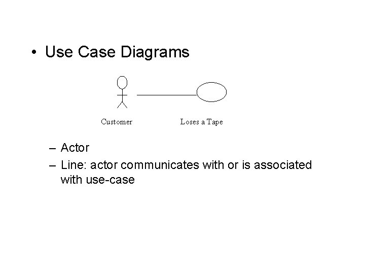 • Use Case Diagrams Customer Loses a Tape – Actor – Line: actor