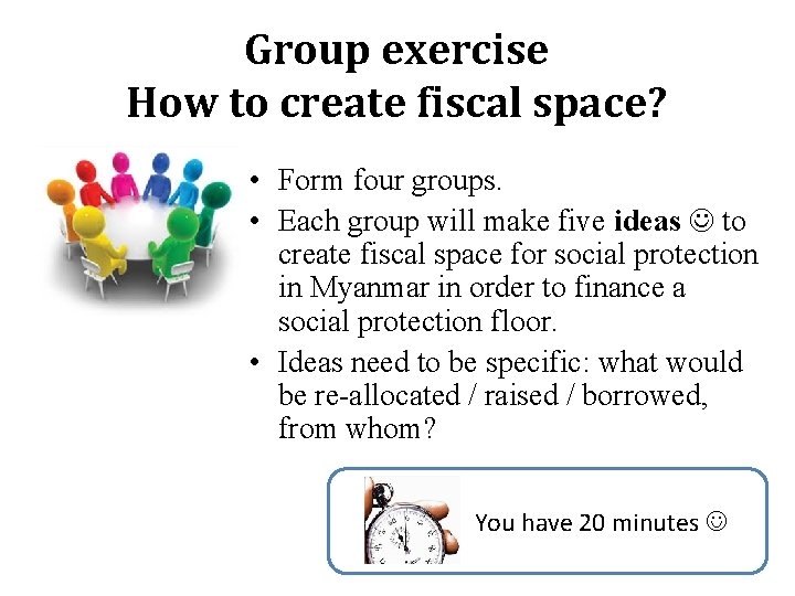 Group exercise How to create fiscal space? • Form four groups. • Each group