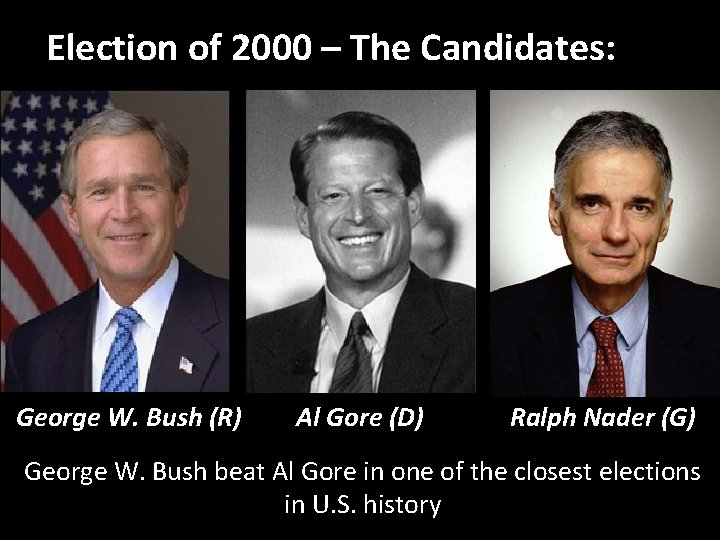 2000 and Beyond Election of 2000 – The Candidates: George W. Bush (R) Al