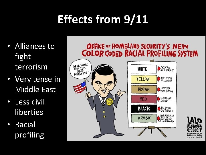 Effects from 9/11 • Alliances to fight terrorism • Very tense in Middle East