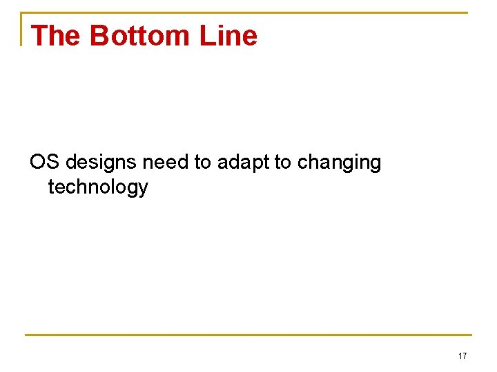 The Bottom Line OS designs need to adapt to changing technology 17
