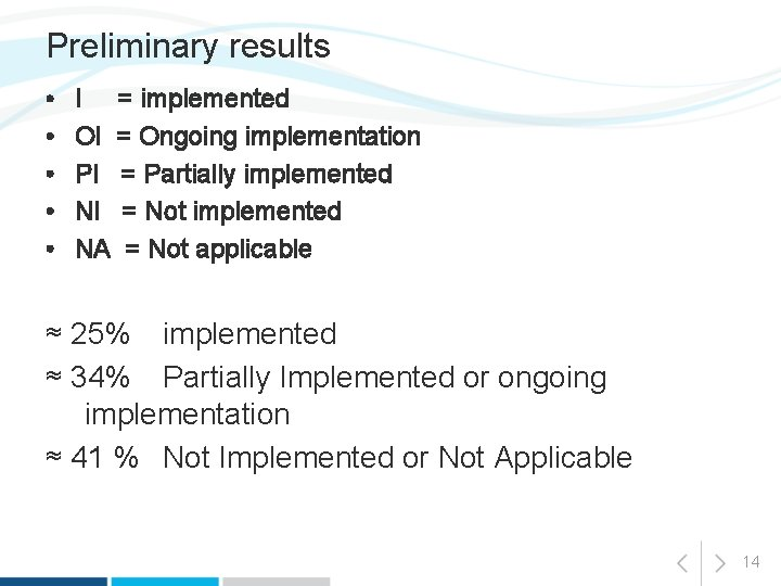 Preliminary results • • • I = implemented OI = Ongoing implementation PI =