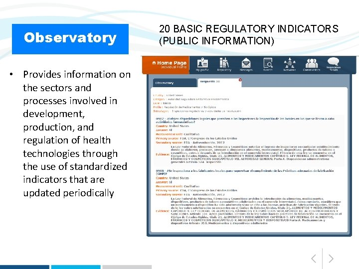 Observatory • Provides information on the sectors and processes involved in development, production, and