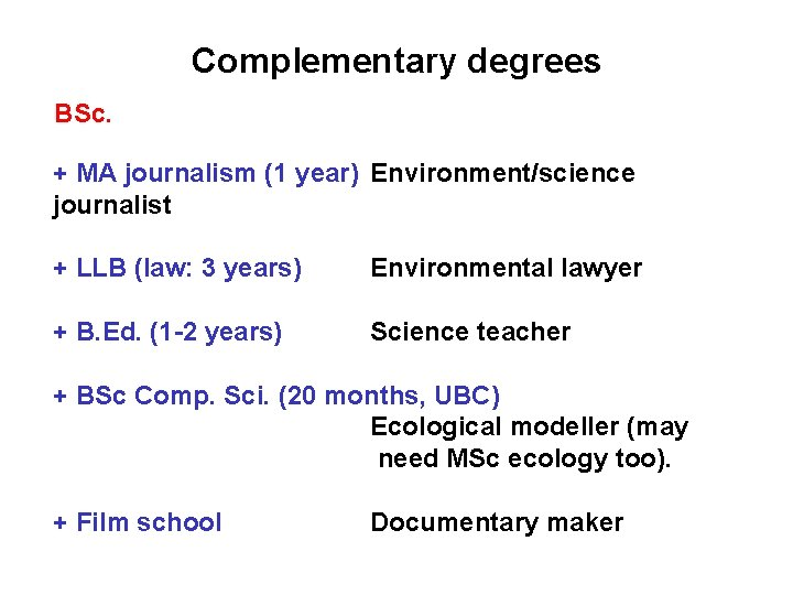 Complementary degrees BSc. + MA journalism (1 year) Environment/science journalist + LLB (law: 3