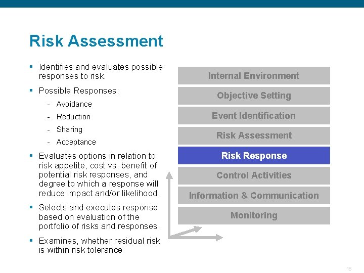 Risk Assessment § Identifies and evaluates possible responses to risk. § Possible Responses: Internal