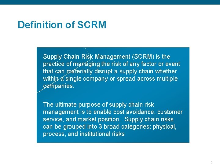 Definition of SCRM Supply Chain Risk Management (SCRM) is the practice of managing the