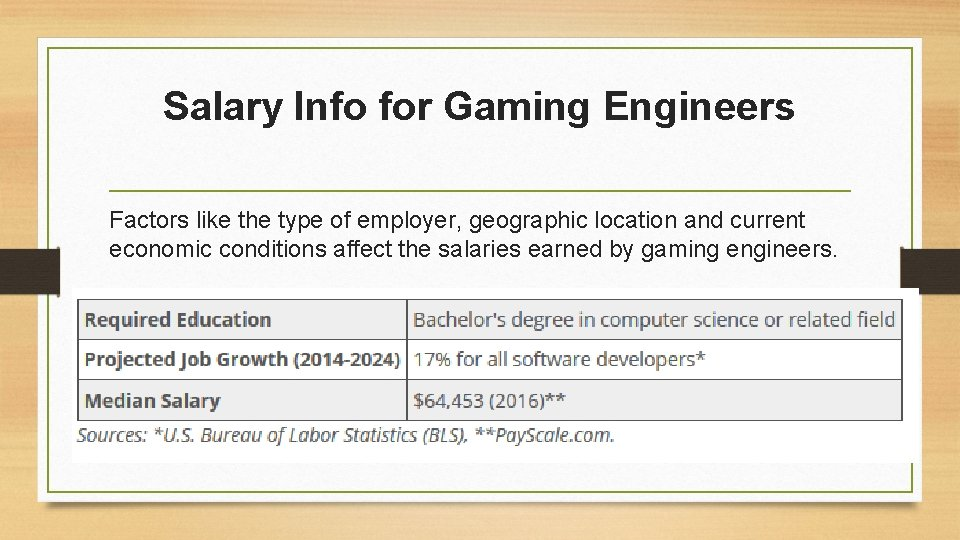 Salary Info for Gaming Engineers Factors like the type of employer, geographic location and