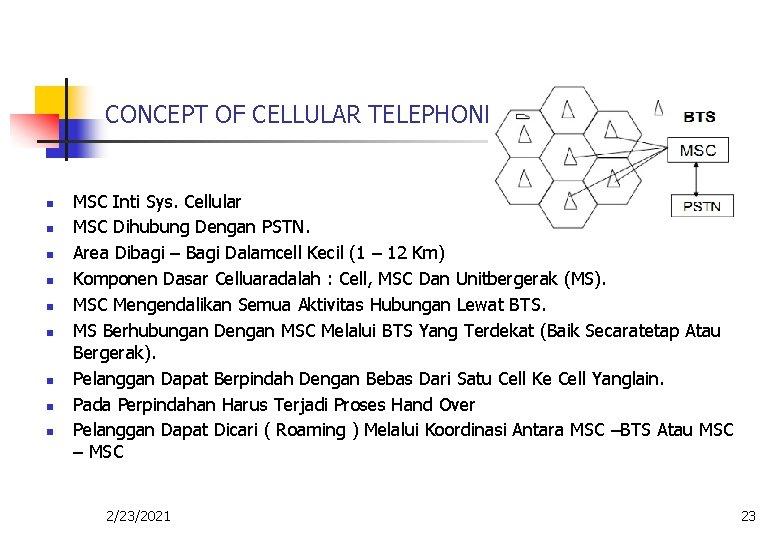 CONCEPT OF CELLULAR TELEPHONE n n n n n MSC Inti Sys. Cellular MSC