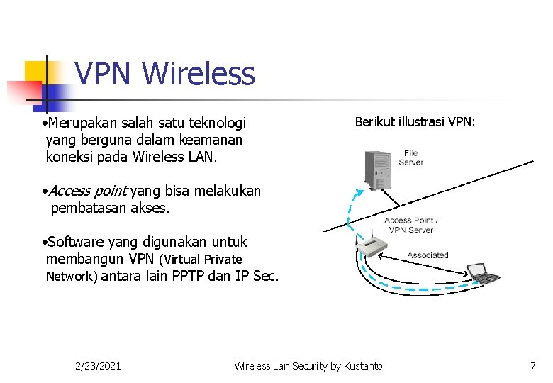 VPN Wireless • Merupakan salah satu teknologi yang berguna dalam keamanan koneksi pada Wireless