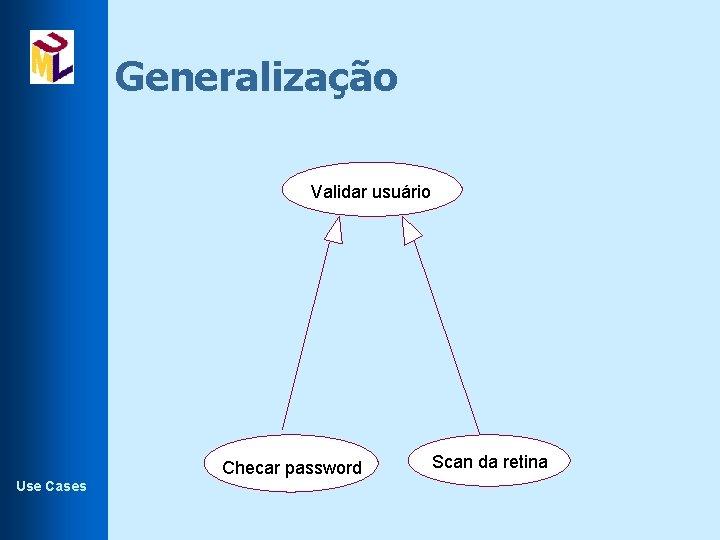 Generalização Validar usuário Checar password Use Cases Scan da retina