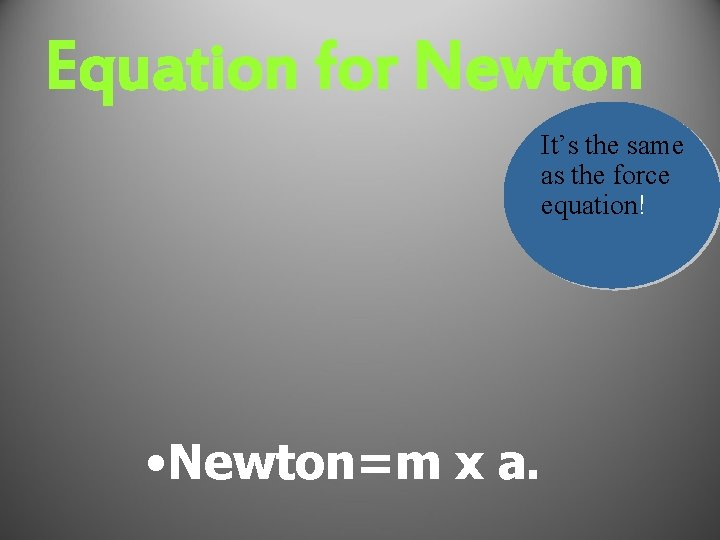 Equation for Newton It's the same as the force equation! • Newton=m x a.
