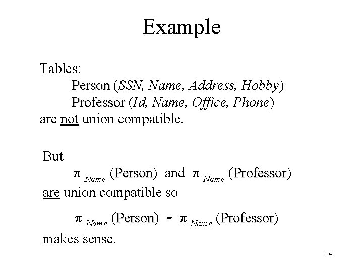 Example Tables: Person (SSN, Name, Address, Hobby) Person Professor (Id, Name, Office, Phone) Professor