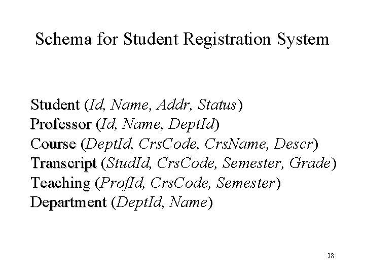 Schema for Student Registration System Student (Id, Name, Addr, Status) Professor (Id, Name, Dept.
