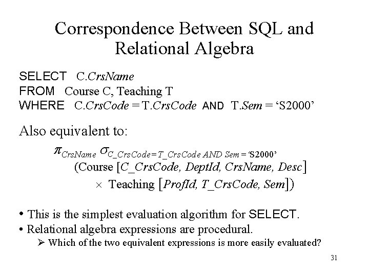 Correspondence Between SQL and Relational Algebra SELECT C. Crs. Name FROM Course C, Teaching