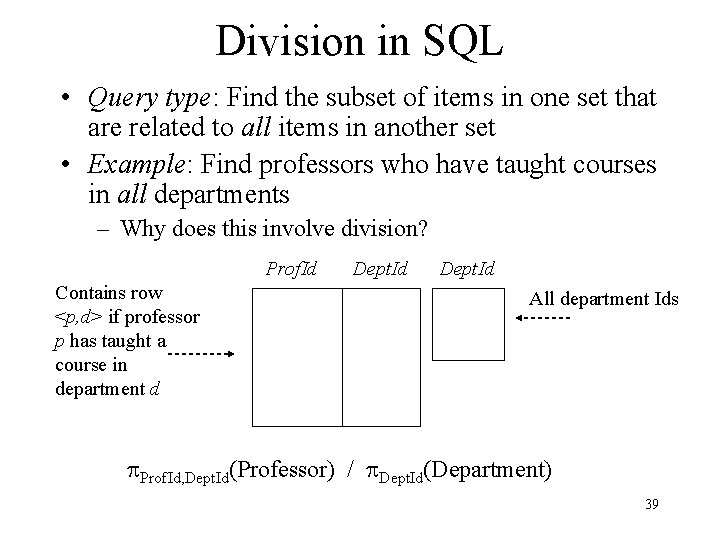 Division in SQL • Query type: Find the subset of items in one set