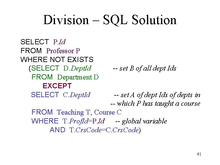 Division – SQL Solution SELECT P. Id FROM Professor P WHERE NOT EXISTS (SELECT
