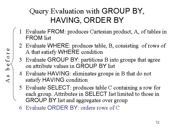 As before Query Evaluation with GROUP BY, HAVING, ORDER BY 1 Evaluate FROM: produces