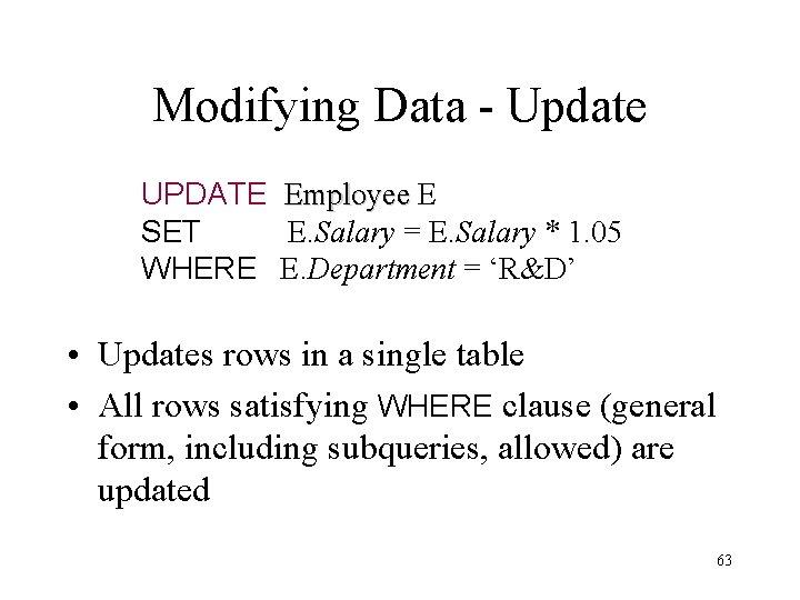 Modifying Data - Update UPDATE Employee E SET E. Salary = E. Salary *