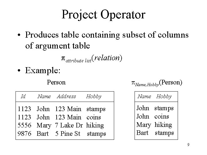 Project Operator • Produces table containing subset of columns of argument table attribute list(relation)