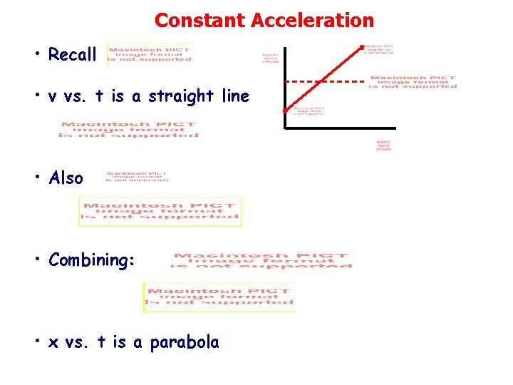 Constant Acceleration • Recall • v vs. t is a straight line • Also