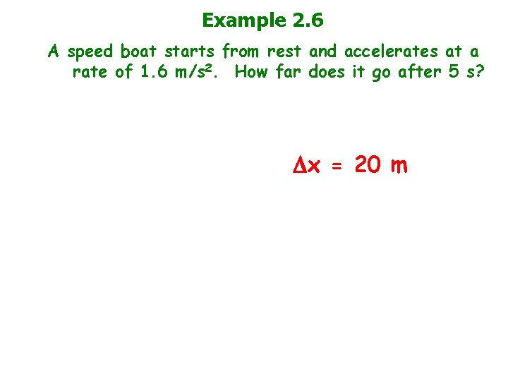 Example 2. 6 A speed boat starts from rest and accelerates at a rate