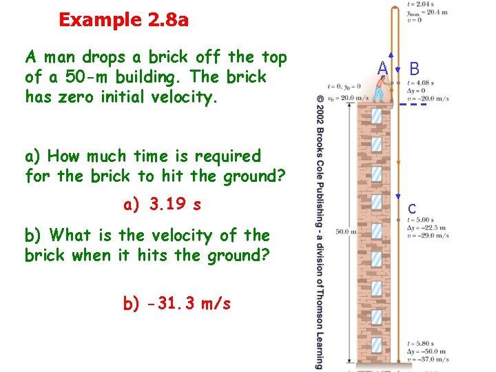 Example 2. 8 a A man drops a brick off the top of a