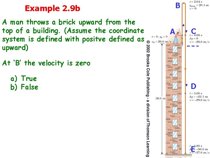 Example 2. 9 b A man throws a brick upward from the top of