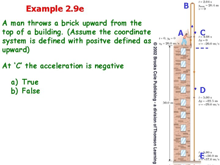 Example 2. 9 e A man throws a brick upward from the top of