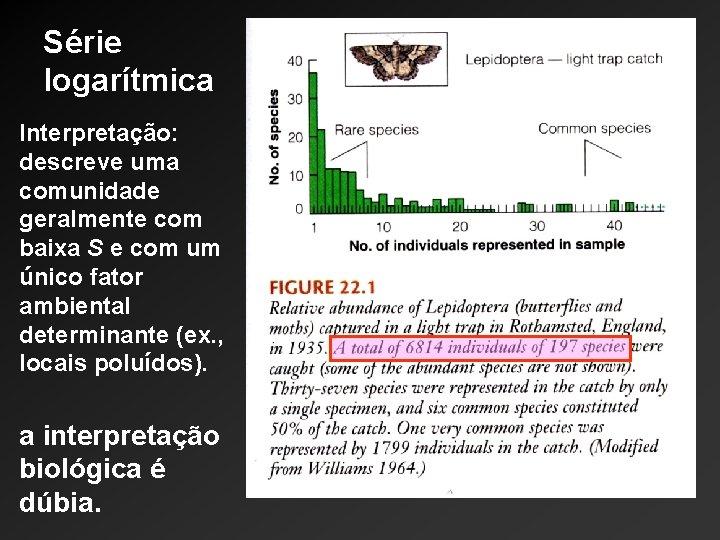Série logarítmica Interpretação: descreve uma comunidade geralmente com baixa S e com um único
