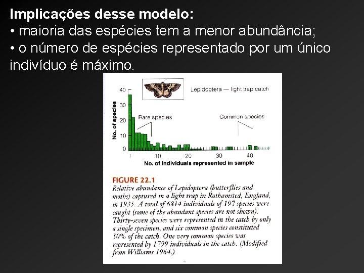 Implicações desse modelo: • maioria das espécies tem a menor abundância; • o número