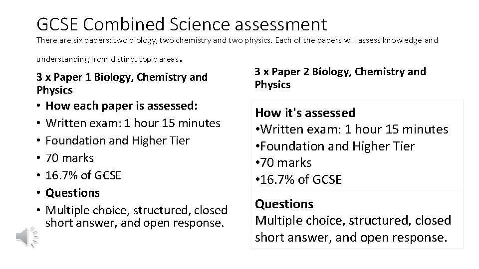 GCSE Combined Science assessment There are six papers: two biology, two chemistry and two