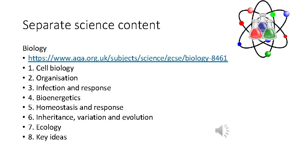 Separate science content Biology • https: //www. aqa. org. uk/subjects/science/gcse/biology-8461 • 1. Cell biology