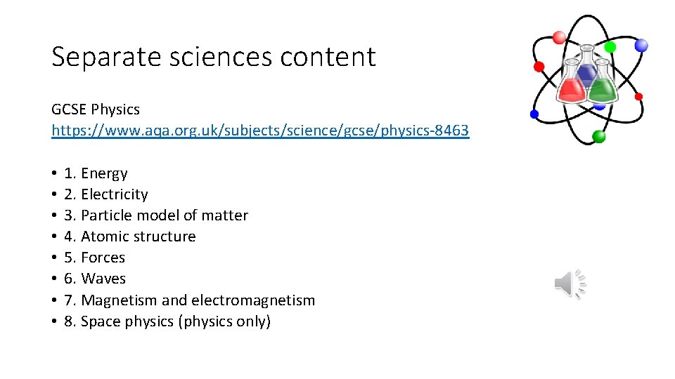 Separate sciences content GCSE Physics https: //www. aqa. org. uk/subjects/science/gcse/physics-8463 • • 1. Energy