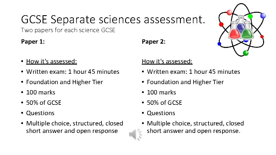 GCSE Separate sciences assessment. Two papers for each science GCSE Paper 1: • •