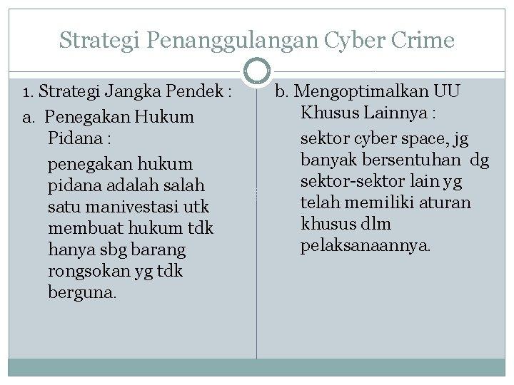 Strategi Penanggulangan Cyber Crime 1. Strategi Jangka Pendek : a. Penegakan Hukum Pidana :