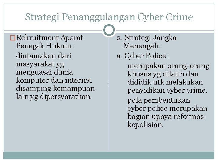 Strategi Penanggulangan Cyber Crime �Rekruitment Aparat Penegak Hukum : diutamakan dari masyarakat yg menguasai